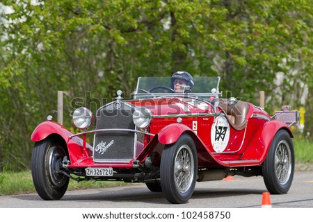 MUTSCHELLEN, SWITZERLAND-APRIL 29: Vintage pre war race car Alfa Romeo Grand Sport from  1931 at Grand Prix in Mutschellen, SUI on April 29, 2012.  Invited were vintage sports cars and motorbikes.
