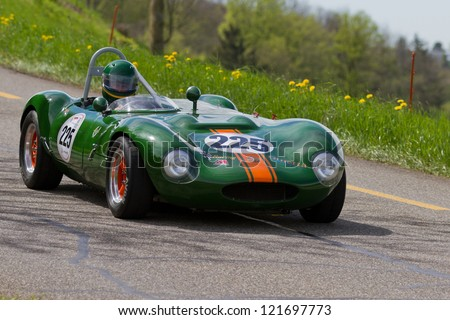 MUTSCHELLEN, SWITZERLAND-APRIL 29: Vintage race touring car Ginetta G4R from 1963 at Grand Prix in Mutschellen, SUI on April 29, 2012.  Invited were vintage sports cars and motorbikes.