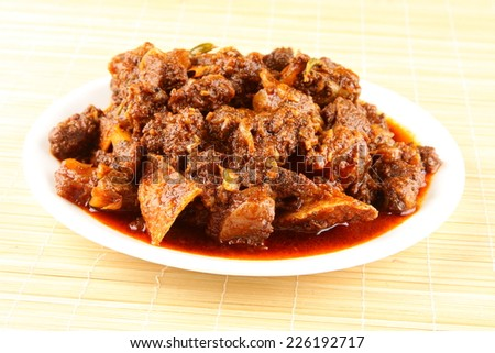 Mutton curry.delicious Kerala style meat curry. It goes well well with ghee rice, appam, parotta, puttu and chappathi.