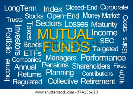 Mutual Funds Word Cloud on Blue Background - stock photo