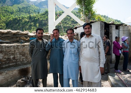MUZAFFARABAD, PAKISTAN - APRIL 11: An unidentified People in a village in the south of Muzaffarabad, April 11, 2015 in Muzaffarabad, Pakistan with a population of more than 150 million people.