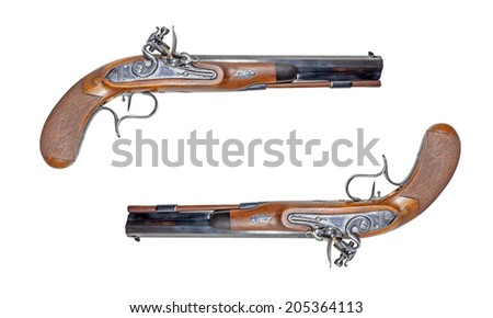 "Muzzleloading blackpowder guns on white background. There are a ""Manton""."
