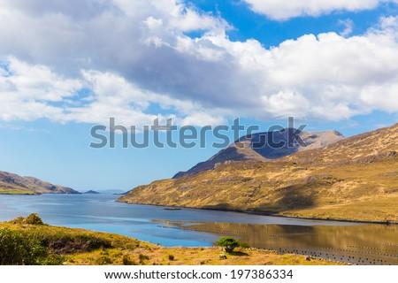 Mweelrea in Killary Harbour in Connacht - stock photo