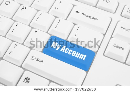 My account button on white keyboard  - stock photo