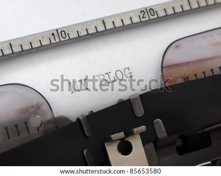 My blog printed on the typewriter - stock photo