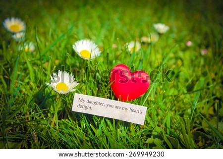 My Daughter, you are my hearts delight - Note in a meadow next to bright daisies - stock photo