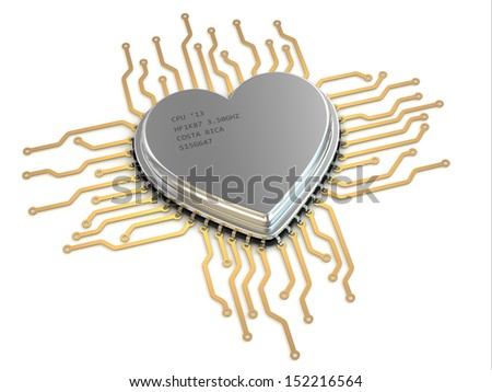 My favorite processor. Cpu as heart. 3d - stock photo