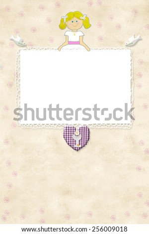 My First Communion invitation card blonde girl with empty frame to put a photo and space for writing - stock photo