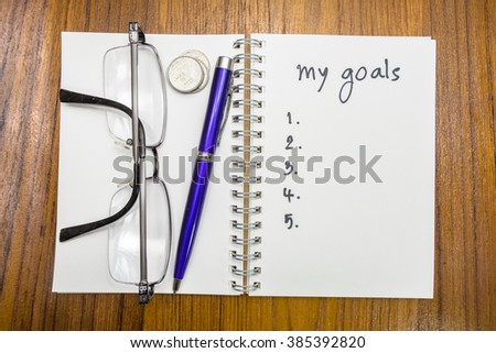 my goals on wood background