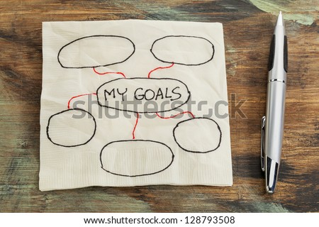 my goals - setting goals concept - blank flowchart sketched on a cocktail napkin - stock photo