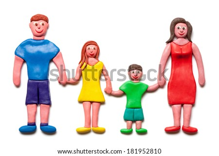 My happy family isolated on the white background.(Plasticine. Clipping path included.)   - stock photo