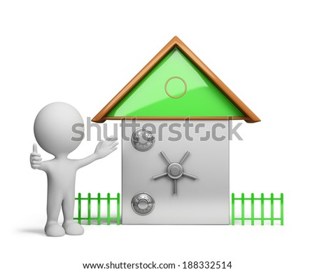 My home is my castle. 3d image. White background. - stock photo