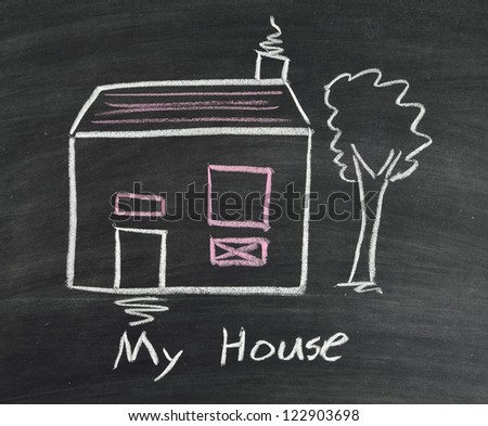 My house writing on blackboard - stock photo
