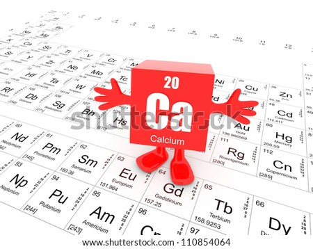 My name is Calcium and this is the Periodic Table - stock photo