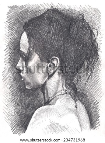 My own pencil drawing of young beautiful sexy lady, fantasy girl model. Original pencil or drawing charcoal, and hand drawn painting or working sketch. - stock photo