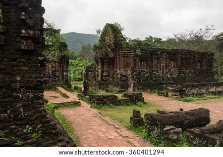 My Son temple ruins no people view in cloudy weather, a UNESCO World Heritage site in Vietnam - stock photo