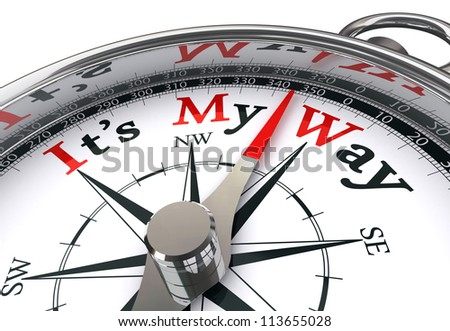 my way red word indicated by compass conceptual image on white background - stock photo