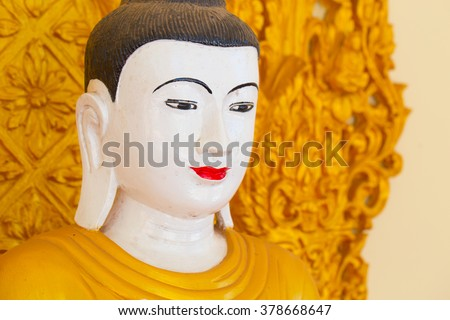 Myanmar Buddha style close up at face