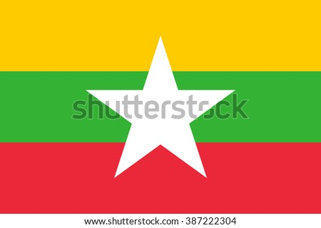 Myanmar flag , Burma flag , official colors and proportion , accurate vector illustration