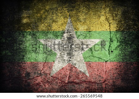Myanmar flag pattern on dirty old concrete wall texture ,retro vintage style - stock photo