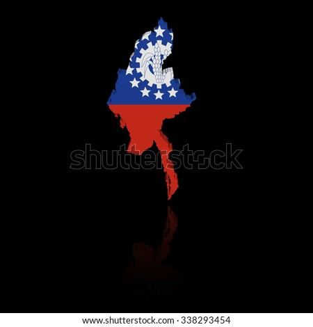 Myanmar map flag with reflection illustration - stock photo