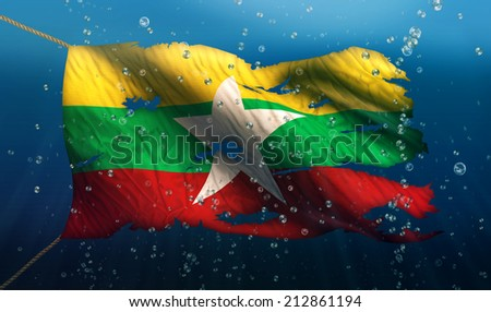 Myanmar Under Water Sea Flag National Torn Bubble 3D - stock photo