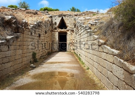 "Mycenae, Greece. Bronze age tomb, ""Tholos of Clytemenestra"".  It was built more than 3000 years ago."