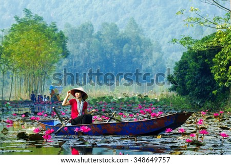 MYDUC, VIETNAM - OCTOBER 18, 2015: girl in traditional costume rowing boat in the flooded forest in MYDUC, VIETNAM. MYDUC is a district about 60 km from Hanoi.