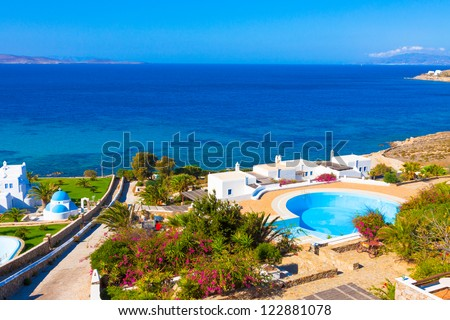 Mykonos Greece,Sea View In mykonos Island Greece Cyclades - stock photo