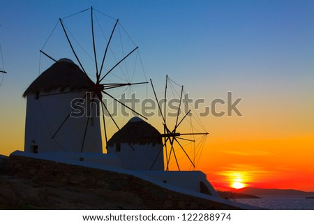 Mykonos Greece Sunset, Windmills sunset in Mykonos Island,Greece Cyclades - stock photo