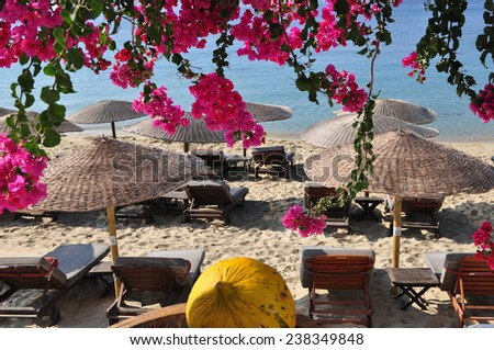 Mykonos island beach - stock photo
