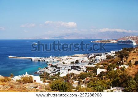 Mykonos Town, old port seen from above, Greece - stock photo