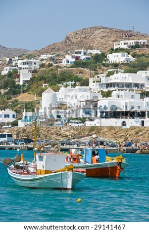 Mykonos with boats