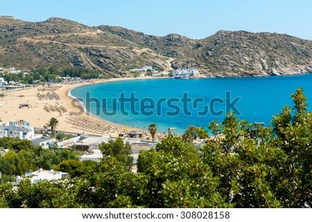 Mylopotas beach in Milopotas village, Ios island, Greece - stock photo