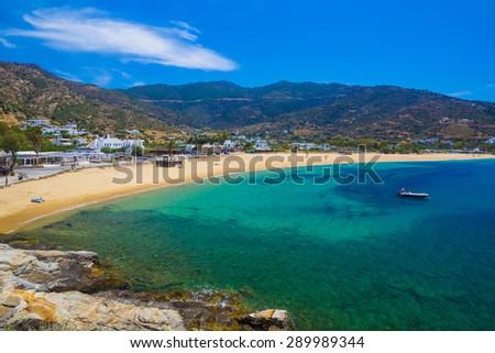 Mylopotas beach, Ios island, Cyclades, Aegean, Greece - stock photo