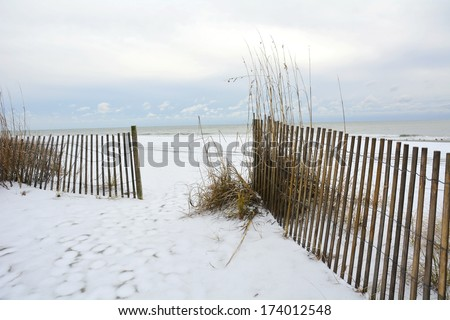 MYRTLE BEACH - JANUARY 29: Very rare Winter storm Leon hits South and virtually shuts down the beach resort of Myrtle Beach South Carolina, January 29, 2014.