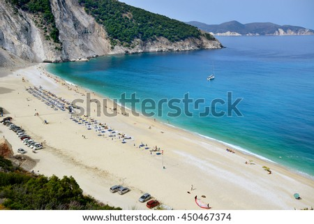 MYRTOS BEACH, GREECE - SEPTEMBER 7: World famous Myrtos beach at Kefalonia island on September 7 2015