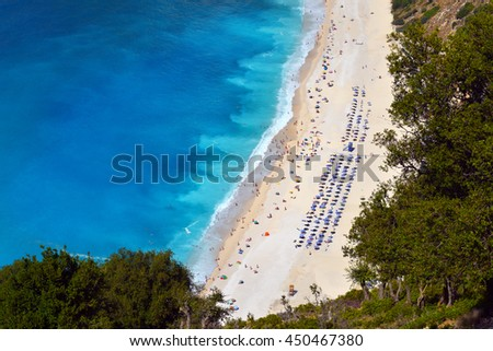 MYRTOS BEACH, GREECE - SEPTEMBER 8: World famous Myrtos beach at Kefalonia island on September 8 2015