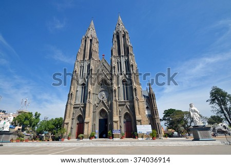 MYSORE, INDIA - FEBRUARY 1 2016: St. Philomena's church is a Catholic church constructed in 1936 using a Neo Gothic style and its architecture was inspired by the Cologne Cathedral in Germany.