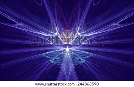 Mysterious alien form magnetic fields in the blue sky. Fractal art graphics. - stock photo