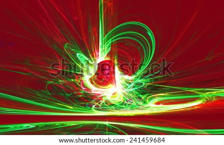 Mysterious alien form magnetic fields in the mysterious night sky. Fractal art graphics. - stock photo
