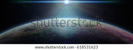 mysterious alien planet lit by a bright blue star (3d illustration, exoplanet background banner, elements of this image are furnished by NASA)
