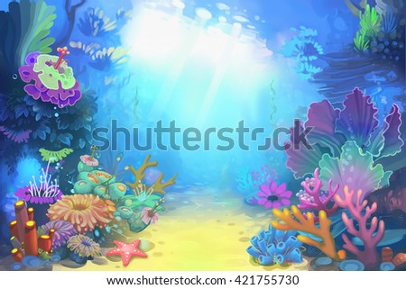 Mysterious and Peaceful Undersea World. Video Game's Digital CG Artwork, Concept Illustration, Realistic Cartoon Style Background  - stock photo