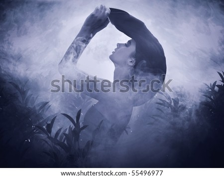 Mysterious beautiful girl posing in the moonlight - stock photo