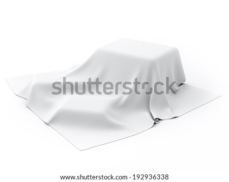 Mysterious box Covered with White Drapery - stock photo