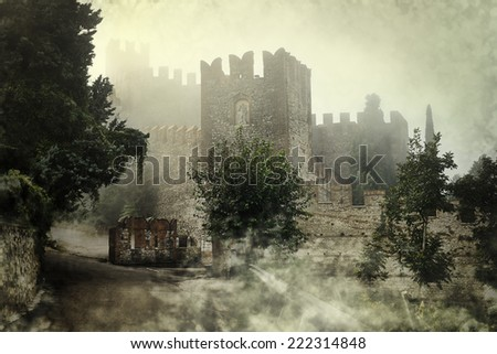 mysterious castle - stock photo