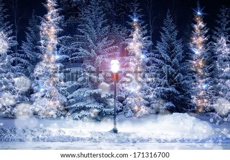 Mysterious Christmas Alley with Bright Vintage Style Lamp Post and Fir Trees Under Snow. Snowy Christmas Scenery with Holiday Decoration. - stock photo