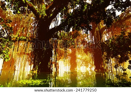 Mysterious Deep Jungle in the Sunset Sunrise 3D artwork - stock photo