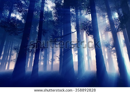 Mysterious Fairy Tale Deep Magic Forest 3D Illustration Artwork - stock photo