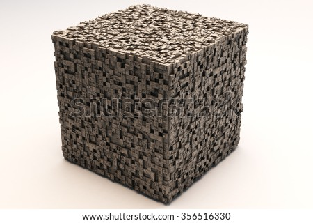 Mysterious Greeble Cube 3D Illustration